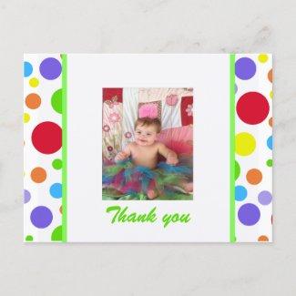 Colorful Spots: Thank You Postcard