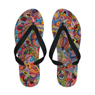 Colorful Tribal Flip Flops - Psychedelic Abstract!