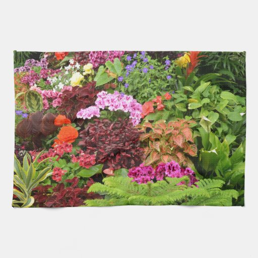 colorful tropical garden towels