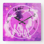 Colorful Unicorn Pink & Blue Decorative Square Wall Clock