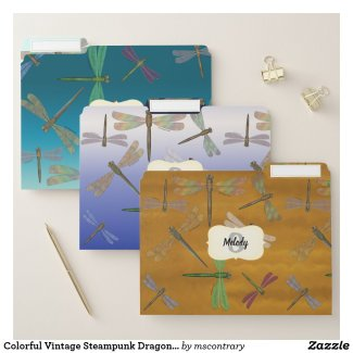 Colorful Vintage Steampunk Dragonflies Monogrammed File Folders - Click through to purchase