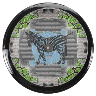 Colorful Zebra Pattern Pop Art Aqua Wall Clock Aquarium Clocks
