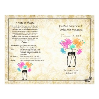 Colorful Zinnia Mason Jar Wedding Program Custom Flyer
