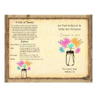 Colorful Zinnia Mason Jar Wedding Program Custom Flyer