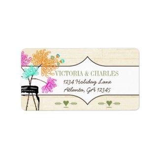 Colorful Zinnia Mason Jar Wild Flower Wedding