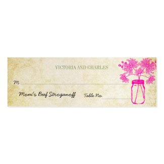 Colorful Zinnia Mason Jar Wild Flower Wedding Menu Business Card Template