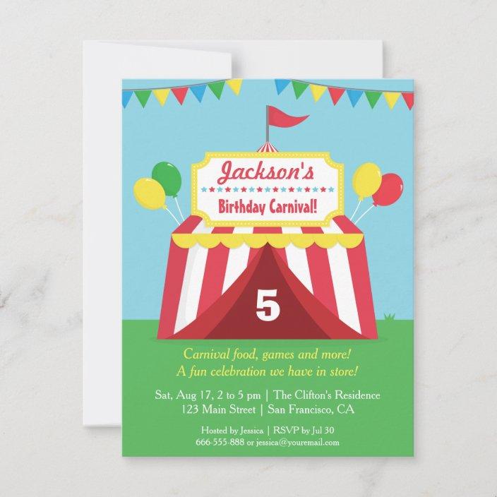 colourful carnival kids birthday party invitation zazzle com
