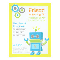 Colourful Cute Robot Birthday Party Invitations