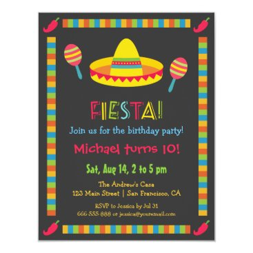 Colourful Mexican Fiesta Kids Birthday Party Invitation