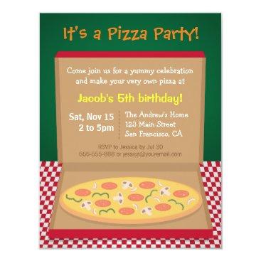 Colourful Pizza Kids Birthday Party Invitation