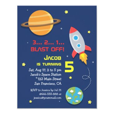 Colourful, Rocket Ship, Space Party, Kids Birthday Invitation