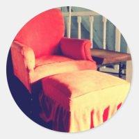 Comfy chair round sticker | Zazzle