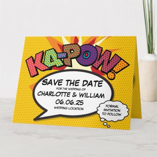 Comic Book Pop Art KA-POW Save the Date Announceme Card