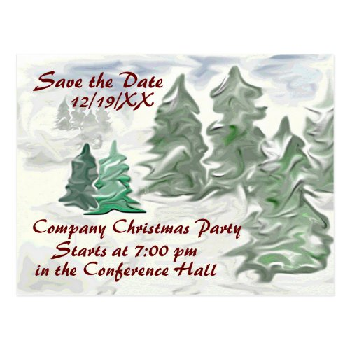 Company Christmas Party Save the Date Artistic Postcard