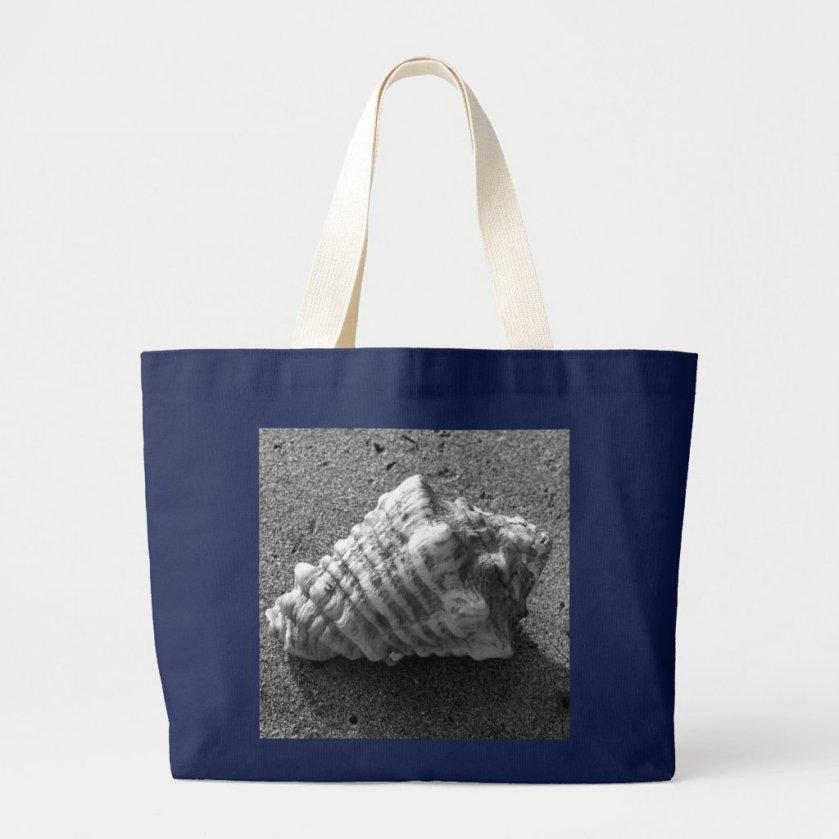 Conch Seashell Black and White Beach Tote Bag