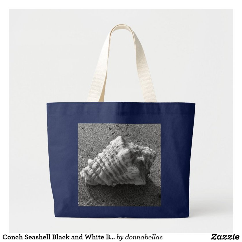 Conch Seashell Black and White Beach Tote Bag