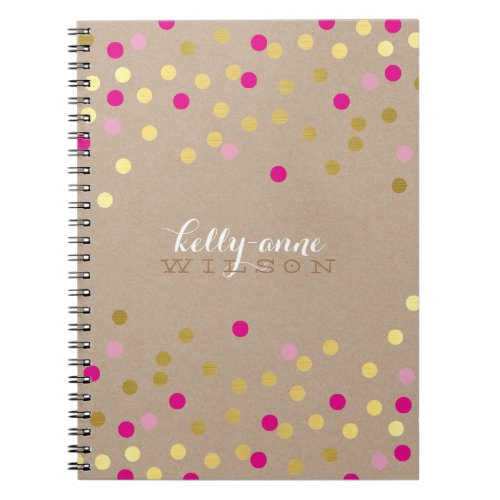 CONFETTI GLAMOROUS cute spot gold pink kraft Spiral Notebook