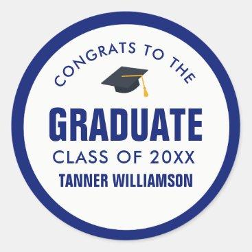 Congrats Graduate Cap Class 2018 Bold Blue Custom Classic Round Sticker