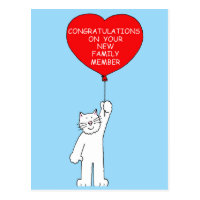 Congratulations on your new pet cat. postcard