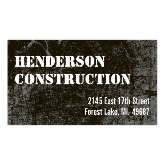 Construction Business Cards Dark Concrete