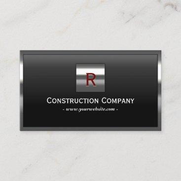 Construction Metal Framed Monogram Professional Business Card