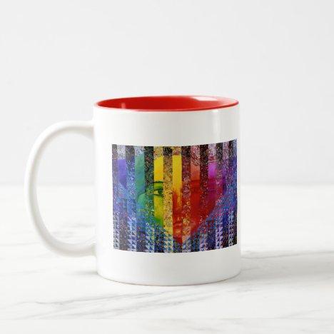 Conundrum I – Abstract Rainbow Woman Goddess Two-Tone Coffee Mug