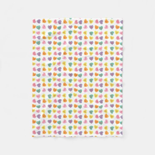 Conversation Candy Hearts Fleece Blanket