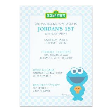 Cookie Monster Baby Birthday Invitation