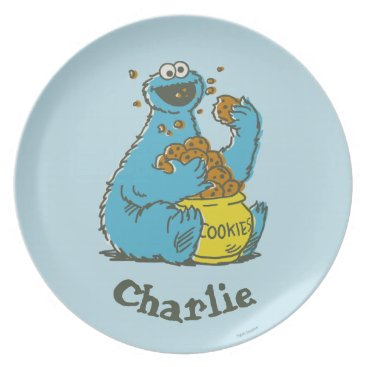 Cookie Monster Vintage   Add Your Name Melamine Plate