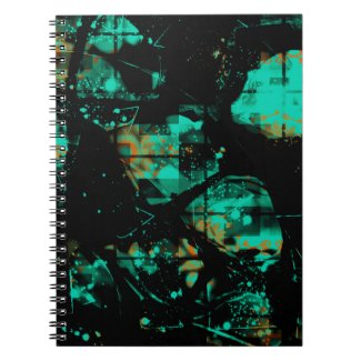 Cool Black and Aqua Abstract Pattern Spiral Notebooks