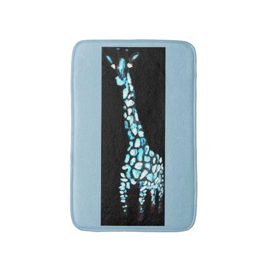 Cool Blue Abstract Giraffe Art Bathroom Mat