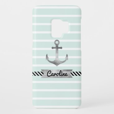 Cool Mint Stripes Watercolor Anchor Custom Case-Mate Samsung Galaxy S9 Case