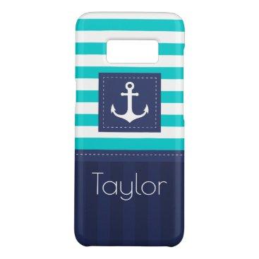 Cool Modern Striped Nautical Anchor Design Custom Case-Mate Samsung Galaxy S8 Case