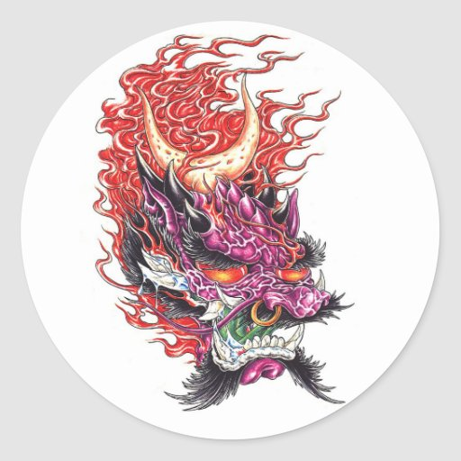 Cool Oriental Demon Dragon Face tattoo sticker Zazzle