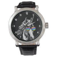 Cool unicorn with rainbow sunglasses wrist watch