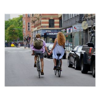 Copenhagen Lovers on Bicycles Poster