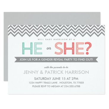 Coral and Aqua Chevron Baby Gender Reveal Party Invitation