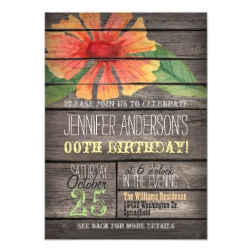 Coral, Green Flower Rustic Adult Teen Birthday Card