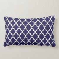 Coral Navy Blue Moroccan Custom Monogram Lumbar Pillow ...