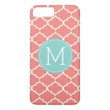 Coral Pink Quatrefoil Personalized Monogram iPhone 8 Plus/7 Plus Case
