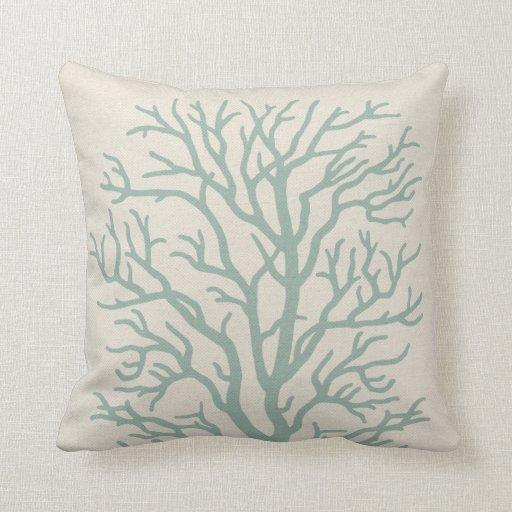 Coral Tree in Seafoam Green Throw Pillow  Zazzle