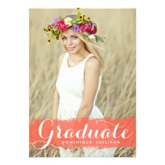 CORAL WATERCOLOR SPLASH | GRADUATION INVITATION