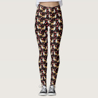 Corgi Valentines Leggings - black