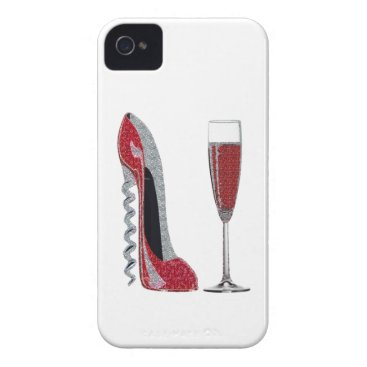 Corkscrew Red Stiletto and Champagne Glass Art Case-Mate iPhone 4 Case