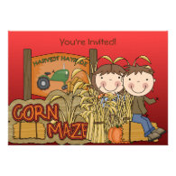 Corn Maze Autumn Party Invitations