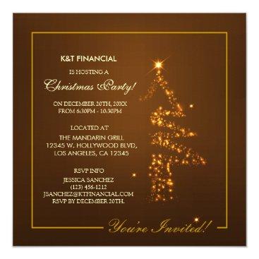 Corporate Golden Christmas Tree Lights Card