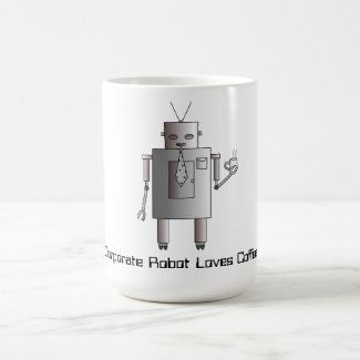 Corporate Robot Loves Coffee, Retro Vintage Robot Mugs