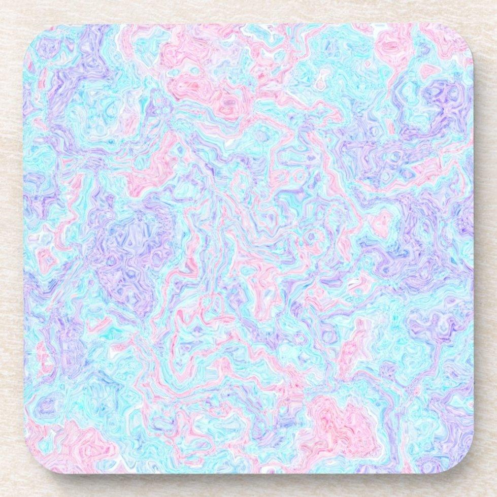 Cotton Candy Swirls Beverage Coaster