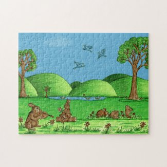 Country Bunnies Jigsaw Puzzle with Gift Box