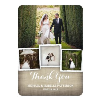 Country Burlap Wedding Photo Thank You Card Personalized Announcements